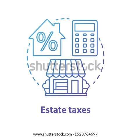 Estate taxes blue concept icon. Financial levy idea thin line illustration. Inheritance tax. Paying percent for inherited assets, money and property. Real estate fee. Vector isolated outline drawing