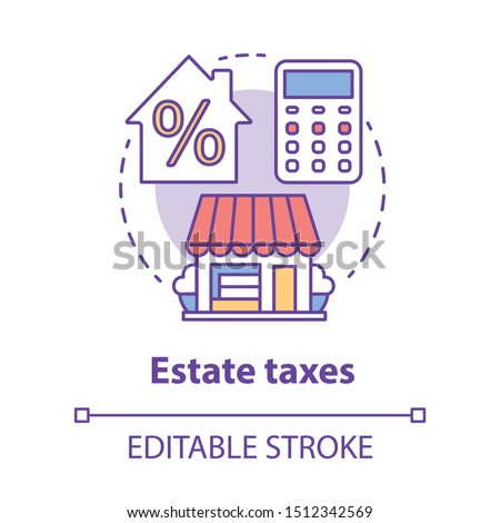 Estate taxes concept icon. Financial levy idea thin line illustration. Inheritance tax. Paying percent for inherited assets, money and property. Vector isolated outline drawing. Editable stroke