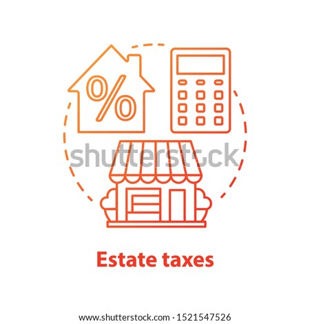 Estate taxes red concept icon. Financial levy idea thin line illustration. Inheritance tax. Paying commission for inherited assets and property. Real estate fee. Vector isolated outline drawing