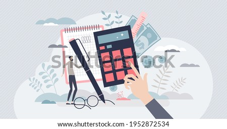 Estimation and financial calculation for budget planning tiny person concept. Accounting and money audit for annual tax percentage reports vector illustration. Expenses and income balance data report.