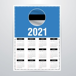 Estonia Country Calendar 2021 - Flag Banner - Happy New Year