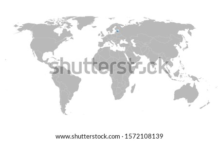 Estonia marked blue isolated on world map vector art. Gray background. Perfect for backgrounds, backdrop, business concepts and wallpapers.