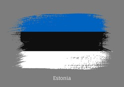 Estonia republic official flag in shape of paintbrush stroke. Estonian national identity symbol. Grunge brush blot isolated on grey background vector illustration. Estonia country patriotic stamp.