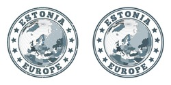 Estonia round logos. Circular badges of country with map of Estonia in world context. Plain and textured country stamps. Vector illustration.