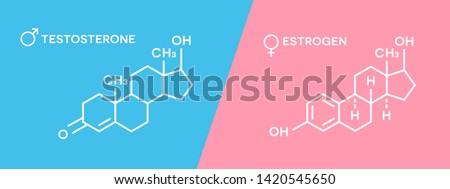 Estrogen and testosterone hormones symbol. Sex hormones molecular chemical formula.