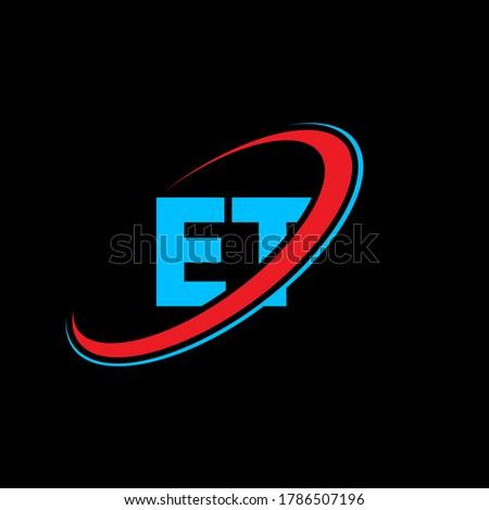 ET E T letter logo design. Initial letter ET linked circle uppercase monogram logo red and blue. ET logo, E T design. et, e t Stok fotoğraf ©