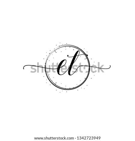 ET  Initial Handwriting logo template vector Stok fotoğraf ©