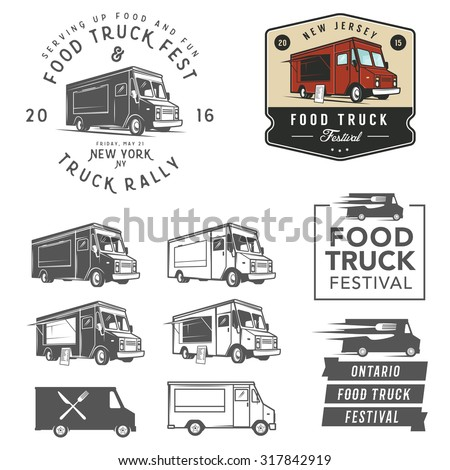 et of food truck festival emblems, badges and design elements