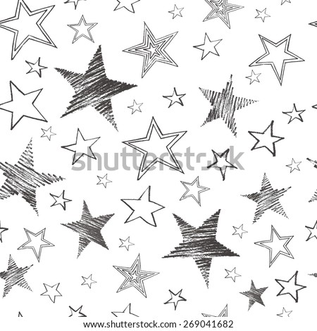 et of hand drawn stars. Retro vintage style. Seamless background .Vector illustration.