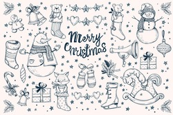 et of vector  Christmas decorations.Hand drawing Christmas socks, present box, snowman,bell,stars and leaves, candy cane and Christmas garland,wood horse, balls,fox, teddy bear, mouse, skates, pipe.