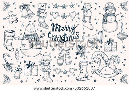 Stock Photo et of vector  Christmas decorations.Hand drawing Christmas socks, present box, snowman,bell,stars and leaves, candy cane and Christmas garland,wood horse, balls,fox, teddy bear, mouse, skates, pipe.
