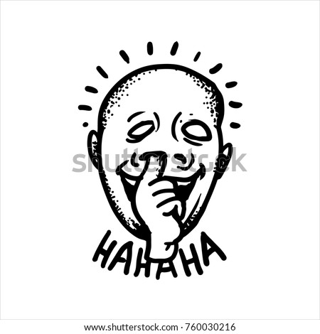 Etched vector illustration. Engraved sticker. Dark humor jokes. Contemporary street art work. Hand drawn sketch of a guy who stuck his finger in his nose and laughs out loud.