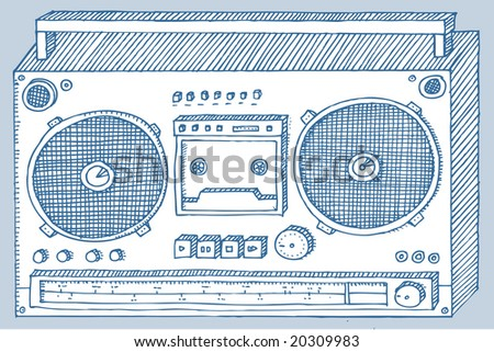 Etching of a stereo player.  Visit my portfolio for a huge collection of hand-drawn doodles.