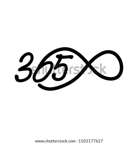 eternal 365 infinity logo icon design illustration black