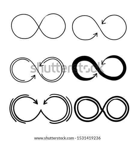 Eternity icon. Mobius line vector logo infinity symbols with handdrawn doodle style vector