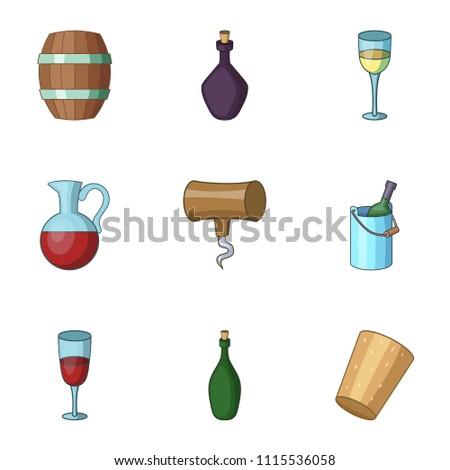 ethanol icons set cartoon set