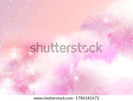 Ethereal background of formations of pink clouds and twinkling stars with copyspace, colored vector illustration