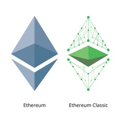 Ethereum and Ethereum Classic Colored Vector Logo Set on White Background