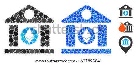 Ethereum corporation building composition of filled circles in various sizes and shades, based on Ethereum corporation building icon. Vector filled circles are grouped into blue collage.