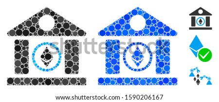 Ethereum corporation building mosaic of round dots in different sizes and shades, based on Ethereum corporation building icon. Vector round dots are organized into blue illustration.