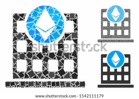 Ethereum corporation office composition of inequal pieces in various sizes and color hues, based on Ethereum corporation office icon. Vector raggy pieces are composed into illustration.
