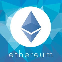 Ethereum crypto currency coin chrystal art icon for apps and websites. Ethereum ETH crystal logo.