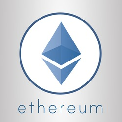 Ethereum crypto currency coin ether chrystal art icon for apps and websites. Ethereum vector logo for print of web.