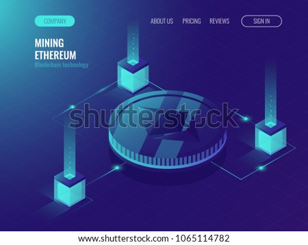Ethereum crypto currency mining server room, service data center, block chain technology token ultraviolet isometric vector illustration