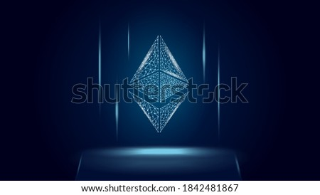 Ethereum ETH cryptocurrency token symbol, coin icon on dark polygonal wireframe background. Digital gold for website or banner. Vector EPS10. Сток-фото ©