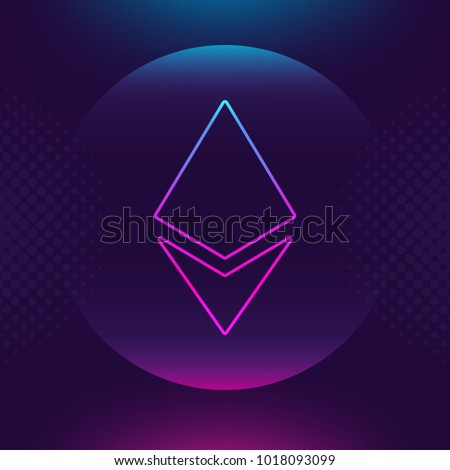 Ethereum ETH vector outline icon. Cryptocurrency, e-currency, payment, crypto currency, blockchain button. Ultra violet Bright luminous logo, flat adaptation design for web site, mobile app, EPS.