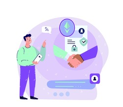 Ethereum Smart Contract Bargain.Businessman make a Deal in Mobile Smartphone.Innovation Technology Agreement Business Concept. Cryptocurrency,Crypto Start Up.High Technologies.Flat Vector Illustration