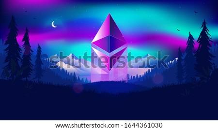 ethereum symbol rising