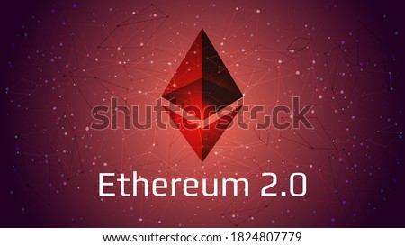 Ethereum 2.0 updated - cryptocurrency coin symbol on abstract polygonal red background. New direction after hard fork. Proof-of-Stake PoS consensus. Vector EPS10. Сток-фото ©