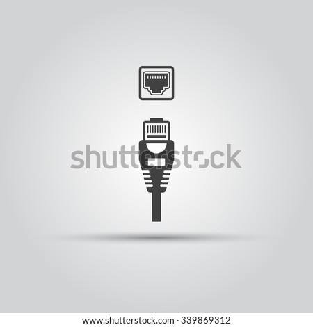 Ethernet cable and port isolated vector black icon, network socket icon, ethernet connector icon Stock fotó ©