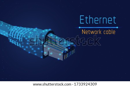 ethernet network cable, socket type rj45,  internet,100mbps and more, web,be always online,connect to computer ,access  to mobile apps, web site, vector illustration, triangle,plexsus,low poly,dot Stock fotó ©