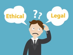 Ethical and Legal - businessman confused Standing at the crossroad