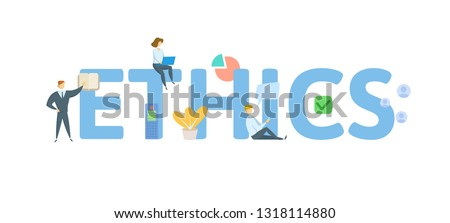ETHICS. Concept with people, letters and icons. Colored flat vector illustration. Isolated on white background. Сток-фото ©