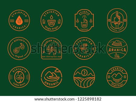 Ethiopia coffee line badge design with variety line element about local Ethiopian coffee farmer,coffee beans,coffee drop,mountain,cup and jar of fresh coffee vector illustration.