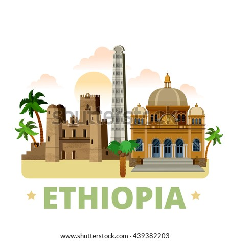 ethiopia country flat cartoon