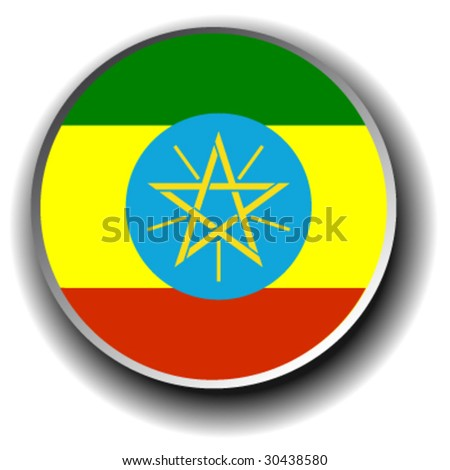 ethiopia flag icon - vector button
