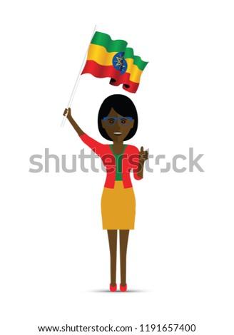 Ethiopia flag waving woman