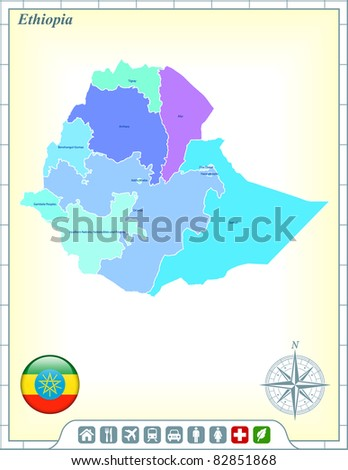 Ethiopia Map with Flag Buttons and Assistance & Activates Icons Original Illustration