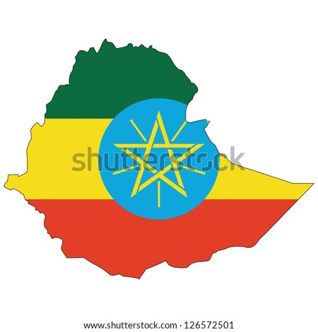 Ethiopia vector map with the flag inside.