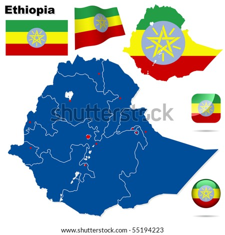 Ethiopia vector set. Detailed country shape with region borders, flags and icons isolated on white background.