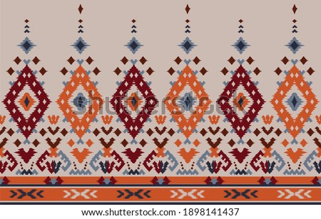 Ethnic abstract background. Seamless tribal, folk embroidery, native ikat fabric. Aztec geometric art ornament print. Design for carpet, wallpaper, clothing, wrapping, textile, tissue, decorative
