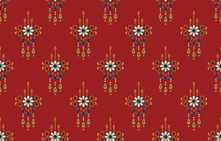 Ethnic abstract flower art. Seamless pattern in tribal, folk embroidery, and Mexican style. Aztec geometric art ornament print.Design for carpet, wallpaper, clothing, wrapping, fabric, cover, textile