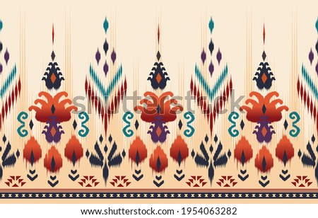 Ethnic abstract ikat art. Seamless pattern in tribal, folk embroidery, and Mexican style. Aztec geometric art ornament print.Design for carpet, wallpaper, clothing, wrapping, fabric, cover, textile