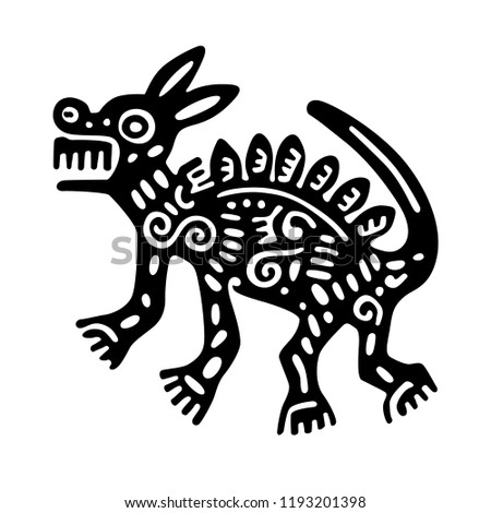 ethnic animal tribal illustration, ancient drawing of an animal - isolated vector EPS 10