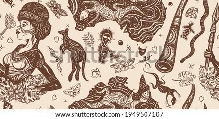 Ethnic Australian woman in traditional costume. Aboriginal tribes bushmen. Australia seamless pattern. Boomerang, rock painting, kangaroo, didgeridoo, map. Old school tattoo vector graphics Zdjęcia stock ©