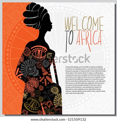 Ethnic background with african woman and african elements. This image can be use for invitation to Africa and some promotional materials in travel industry.